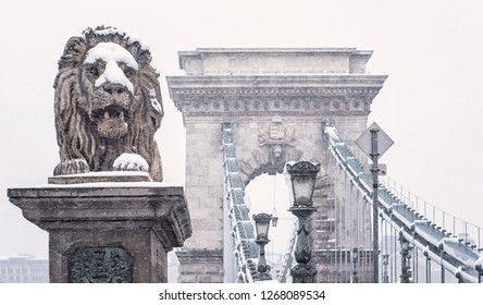 Famous Chain Bridge in winter in Budapest, Hungary