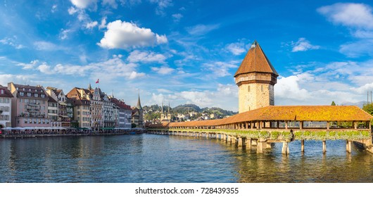 Famous Chapel bridge in Lucerne in a beautiful summer day, Switzerland