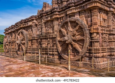 The famous chariot wheel architecture at ancient Sun temple in Konark. This historic temple was built in 13th century and is a world heritage site.