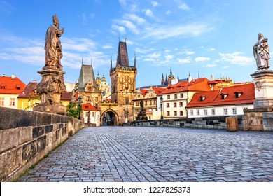 Famous Charles Bridge over the Vltava river in Prague, Czech Republic
