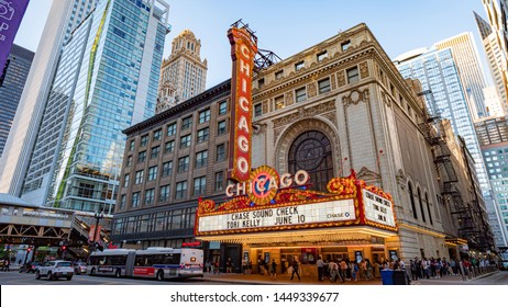 Famous Chicago Theater at State Street former Balaban and Katz Theater  - CHICAGO, ILLINOIS - JUNE 11, 2019