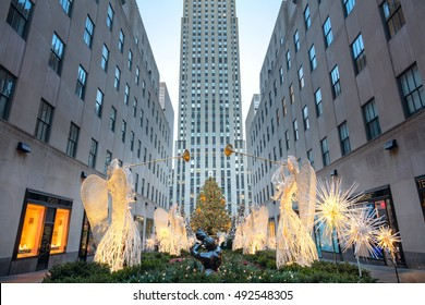 Famous Christmas Decoration - Rockefeller Centre (Top of the Rock), New York City, USA - 19 of December 2015, New York City, USA