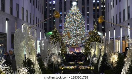 Famous Christmas tree at Rockefeller Center in Manhattan - NEW YORK / USA - DECEMBER 4, 2018