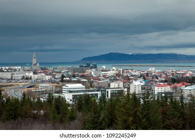 The famous church dominates the landscape of downtown Reykjavik in Iceland