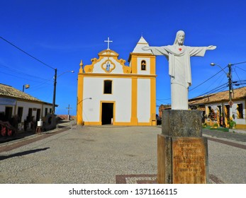 Famous church on the Arraial d'Ajuda, Bahia, Brazil. Church, temple, religion, faith. Catholic church. Catholic Religion. Catholic Priest.