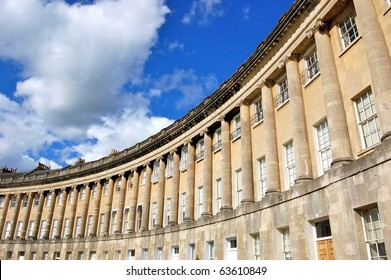 The famous circular Royal Crescent building in Bath, England.