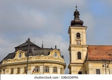 Famous city center buildings of Sibiu, Romania