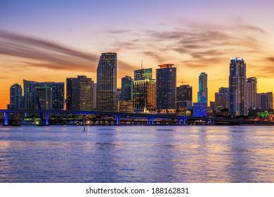 Famous cIty of Miami, Florida, summer sunset