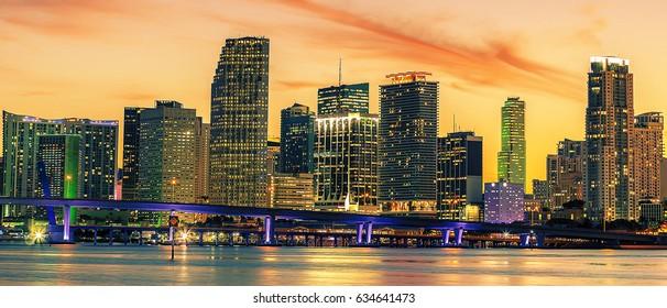 Famous cIty of Miami, Florida, USA, summer sunset