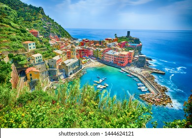 Famous city of Vernazza in Italy
