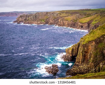 Famous cliffs at the coastline of Lands End Cornwall