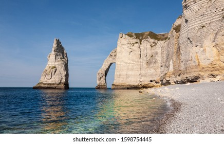 The famous cliffs at etretat from the beach