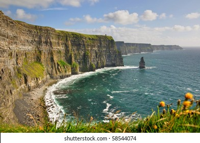 famous cliffs of moher, county clare, castle , west coast of ireland. wild Atlantic way. scenic ireland background landscape and seascape beach. European Atlantic Geotourism Route geopark