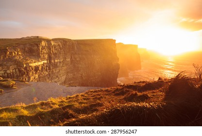 Famous cliffs of Moher at sunset in Co. Clare Ireland Europe. Beautiful landscape natural attraction.