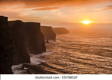 Famous cliffs of Moher at sunset in Co. Clare Ireland Europe. Beautiful landscape as natural attraction.