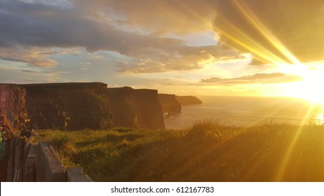 Famous cliffs of Moher at sunset in Co. Clare Ireland Europe. Beautiful landscape as natural attraction