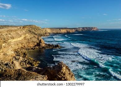 Famous cliffs near port lincon at sunset, South Australia