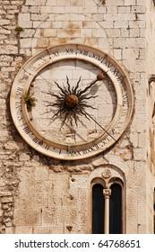 Famous clock tower in historical Split, Croatia