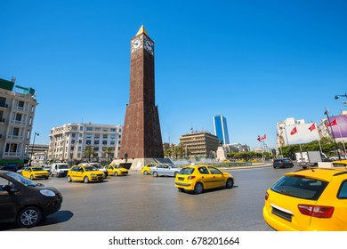 Famous clock tower on central square in Tunis city. Tunisia, North Africa