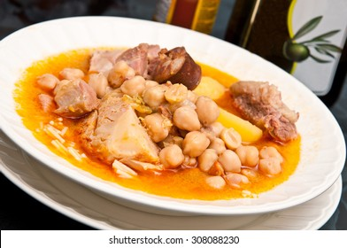 "The famous ""Cocido Madrileño"". A delicious spanish stew with chickpeas, sausages, potatoes, cabbage and various types of meat."