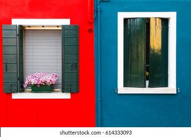 famous colored facades of Burano island, near Venice