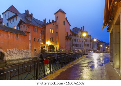 Famous colorful houses and Thiou river during morning blue hour in old city of Annecy, Venice of the Alps, France