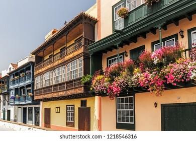 Famous Colorfull Houses in Santa Cruz de La Palma, Canary Islands
