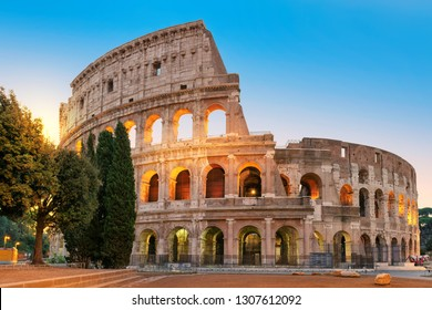 Famous Colosseum at sunrise in Rome, Italy,