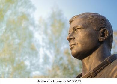 Famous cosmonaut Gagarin bronze head statue