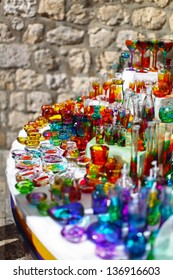 Famous croatian colorful souvenirs from glass
