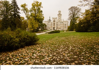 Famous Czech castle Hluboka nad Vltavou, medieval building with beautiful autumn park, travel outdoor european background