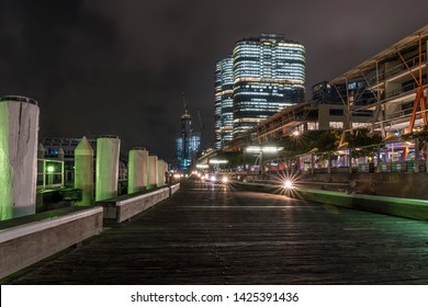 The famous Darling Harbor pier, Sydney, Australia, at night without people