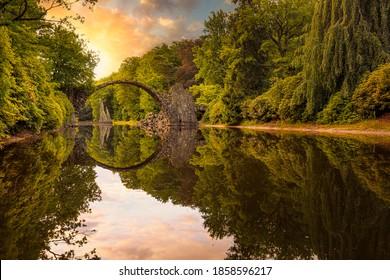 The famous Devils bridge, lokally known as Rakotzbridge or Rakotzbrücke