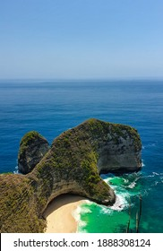 The famous dinosaur like hill of the Kelinkin Beach of Nusa Penida Island in Bali, Indonesia. Most photogenic place of Bali