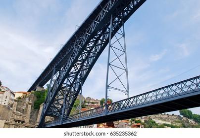 famous Dom Louis brige from Eiffel, river Douro, Porto, Portugal