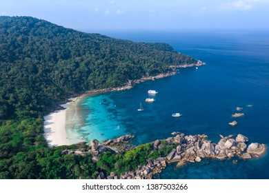 Famous Donald duck bay in tropical island of Koh Similan in Similan archipelago Thailand aerial view