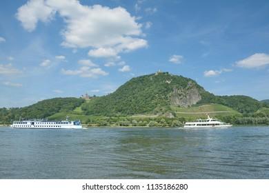 famous Drachenfels and Drachenburg Castle at Rhine River in Siebengebirge,North Rhine westphalia,Germany