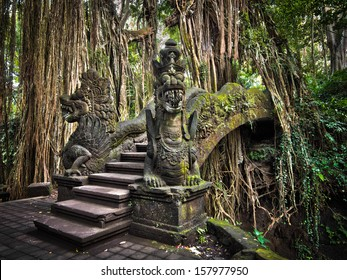 Famous dragon bridge in Monkey Forest Sanctuary in Ubud, Bali, Indonesia.