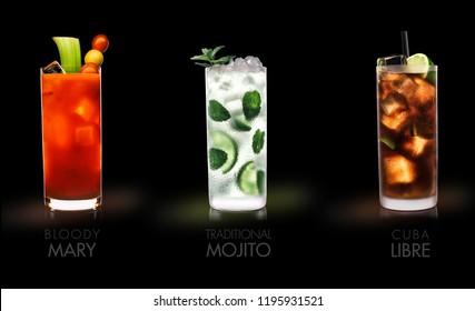 Famous drinks (Bloody Mary, Mojito, Cuba Libre)  - black background