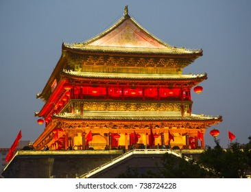 Famous Drum Tower in the Xi'an city, China. Xi'an is capital of Shaanxi Province and one of the oldest cities in China. Xi'an is the starting point of the Silk Road and home to the Terracotta Army.