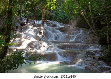 Famous Dunn's river falls on Jamaica