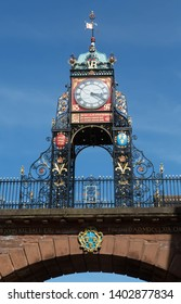 The famous Eastgate clock on the city walls in Chester, England