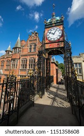 The famous Eastgate Clock, viewed from the historic city walls in the city of Chester, UK.