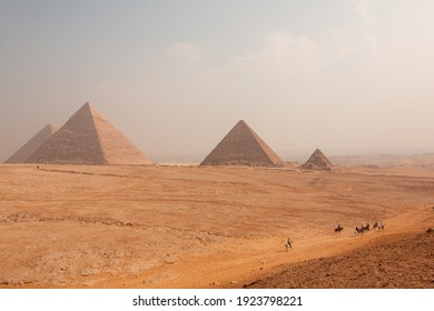 Famous Egyptian Pyramids of Giza.  Landscape in Egypt. Pyramid in desert. Africa. Wonder of the World