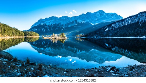 famous eibsee lake in front of zugspitze mountain in germany