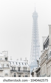 The famous Eiffel Tower after snow fall in Paris, France. It was the first time in 5 years since snow had fell on the capital.