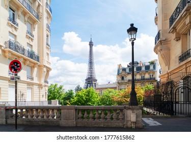 famous Eiffel Tower landmark and Paris city at summer, Paris France