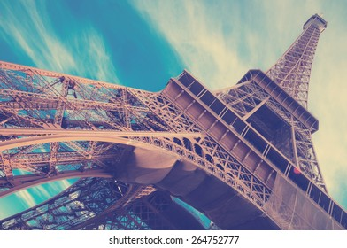 famous Eiffel Tower in Paris, France.  Instagram style filtred image