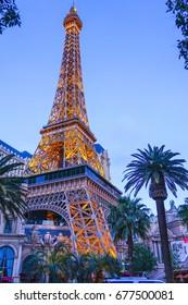 Famous Eiffel Tower at Paris Hotel and Casino in Las Vegas - LAS VEGAS / NEVADA - APRIL 25, 2017