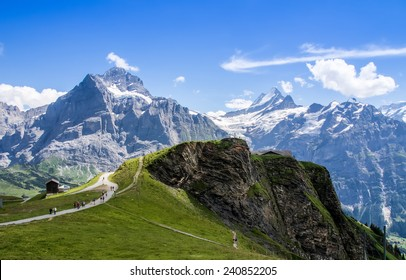 Famous Eiger, Monch and Jungfrau mountains in the Jungfrau region